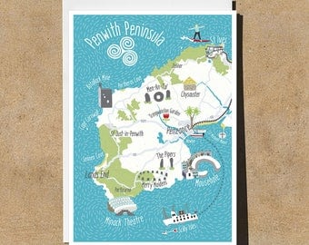 Map of Cornwall Card - Penzance - Surfing - St Ives - Hand-drawn - Illustrated & Hand-drawn Stationery - Made in UK - Blank Card