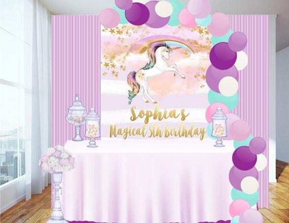 Digital file candy table backdrop unicorn party unicorn for Backdrop para mesa de dulces