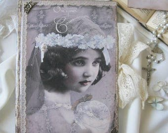 First Communion memory book, diary, journal, gift for first Communion, vintage diary, shabby chic diary, Erstkommunion Geschenke