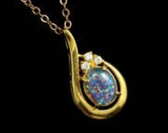Mother of the bride gift, Australian opal set pendant with three crystals, FREE SHIPPING, jewelry gift, crystal necklace, colorful gift
