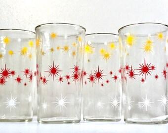 Anchor Hocking Mid Century Atomic Starburst Glasses (Set of 4)