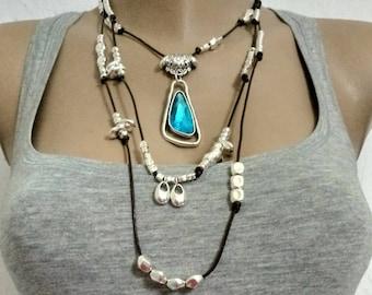 leather crystal blue necklace , uno de 50 necklace style, boho necklace