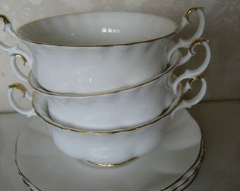 3 Royal Albert Cream Soup cups and saucers