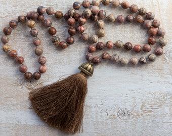 Boho tassel necklace / Leopardskin Jasper necklace / Jasper bead necklace / long tassel necklace / romantic jewelry for her / gift for her