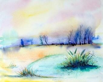 Landscape painting, watercolor landscape, Original watercolor painting, Landscape watercolor painting, Nature painting, original art,sunrise