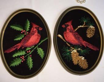Cardinals in Pine Tree Framed Pair