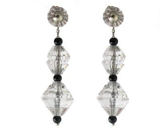 Art Deco Crystal and Onyx Drop Earrings