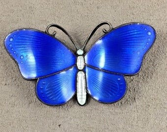 Ivar T. Holth Olso,Norway Sterling & Blue Enamel Large Butterfly Pin/Brooch