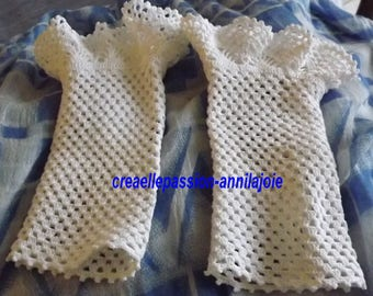 Fingerless gloves, Bridal lace, crochet in thin cotton, 27cm long, washable 80 ° for a special day