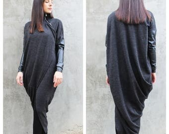 SALE Grey Wool Vest/Asymmetrical Top/ Extravagant Tunic/ Long Drape Vest/ Long Sleeves Top by FRKT V0013