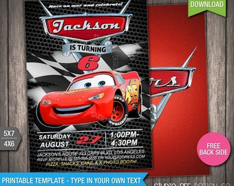 Cars 3 Invite - 50% OFF - INSTANT DOWNLOAD - Printable Disney Cars 3 Birthday Invitation - Lightning - DiY Personalize & Print - (CAin05)