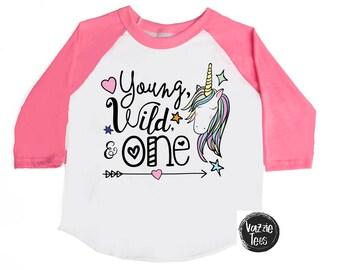 Young Wild and One Birthday Shirts - Unicorn Birthday Shirts - One Year Old - 1st Birthday - ONE - Rainbow Birthday Shirts - Girls' Shirts