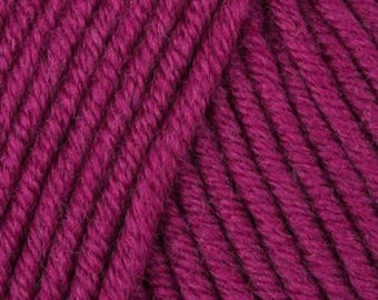 MillaMia Naturally Soft ARAN 6.75 +.95ea to Ship - Magenta 232 - Free Patterns Shown - 87yds Soft Squishy, Very Forgiving, Great Definition.