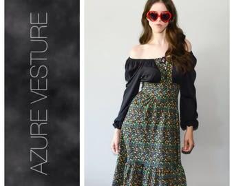 70s Peasant Dress. XS Small. 1970s Off Shoulder, Peasant, Day, Festival, Boho dress, Hippie Dress.