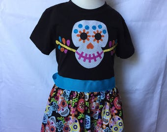 Coco-inspired Dia De Los Muertos Dress, sizes 4 and 5 (ages 4-5, 5-6)