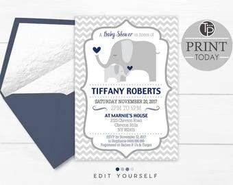 ELEPHANT Baby Shower  Invitation, Instant Download Elephant BABY SHOWER Invitation, Navy Elephant Baby Shower, Shower Invitation, Editable