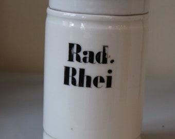 Vintage pharmacy pot made of porcelain in white