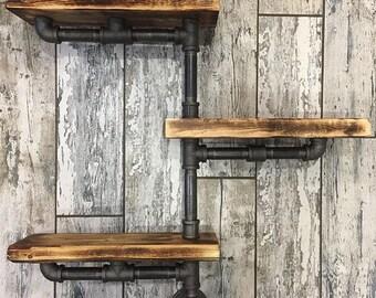 Unique Rustic Industrial Wood & Iron Pipe Shelf