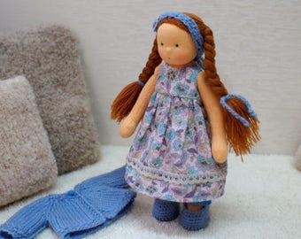 """Waldorf Doll in blue 8"""", Waldorf Doll, Cloth Doll, Handmade Cloth Doll, Soft Doll, Waldorf inspired Doll"""