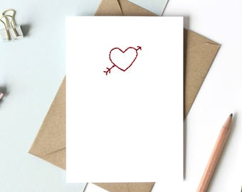 Hand stitched personalised Valentine's Day card