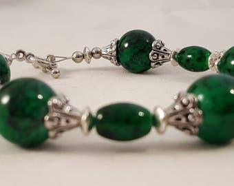 Green & Black Swirl Silver Bracelet - Green Swirl Bracelet - Black Swirl Bracelet - Green Bracelet - Silver Bracelet - Swirl Bracelet -Green