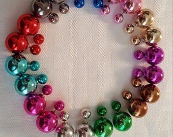 Bold Metallic Double Stud Earrings - Bold Stud Earrings - Stud Earrings - Metallic Earrings - Double Stud Earrings - Shiny Earrings- Stud
