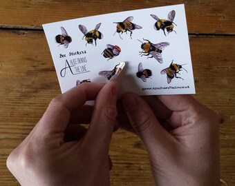 Bee mini sticker sheets by Alice Draws The Line; great for children's birthday party bags. Mini sticker sheets