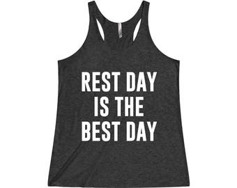 Rest Day Is The Best Day - Funny Workout Tank, Funny Gym Tank, Crossfit Tank, Workout Tank Top, Workout Tank, Gym Tank, Fitness Tank