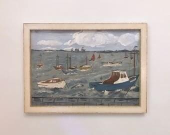 Vintage Harbor Scene Original Oil Painting Signed Framed
