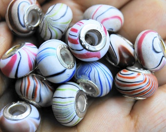 6 EUROPEAN 13 * 8 MM ACRYLIC BEADS TUBE STERLING SILVER METAL