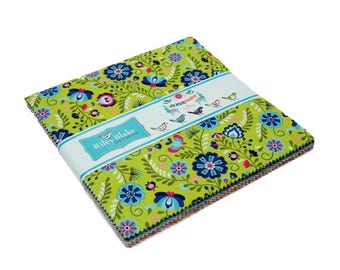 """Riley Blake - 10"""" Squares """"Juxtaposey"""" by Betz White -- 42 -10 inch squares. Layer Cake, funky flower fabric. Lama fabric"""