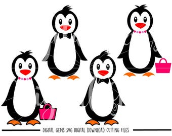 Penguin svg / dxf / eps / png files. Digital download. Compatible with Cricut and Silhouette machines. Small commercial use ok.