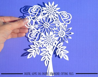 Flower bouquet paper cut svg / dxf / eps files and pdf / png printable templates for hand cutting. Digital download.