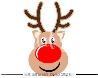 Reindeer face svg / dxf / eps / png files. Digital download. Compatible with Cricut and Silhouette machines. Small commercial use ok.