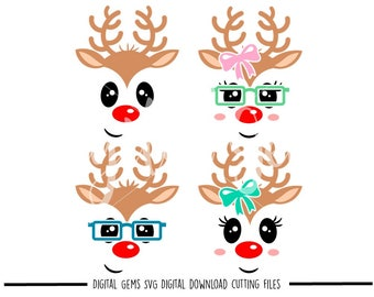 Reindeer faces svg / dxf / eps / png files. Digital download. Compatible with Cricut and Silhouette machines. Small commercial use ok.