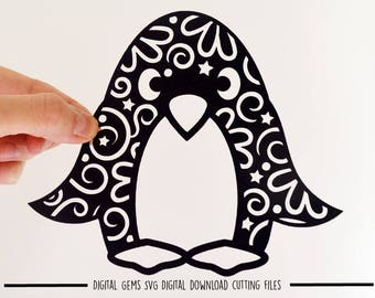 Penguin paper cut svg / dxf / eps / files and pdf / png printable templates for hand cutting. Digital download. Small commercial use ok