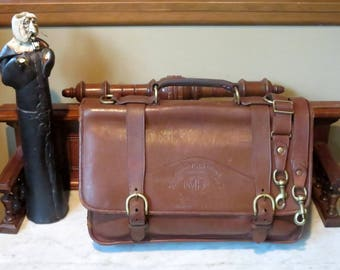 Ghurka Marley Hodgson Barrister Briefcase In Chestnut Leather- Style No 85- Handmade In The United States- Rare Bag