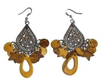 Vintage Chandelier Wooden Beaded Antique Beaded 2.5 inch Dangle Earrings