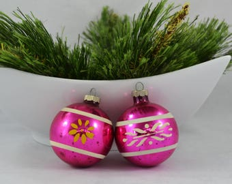 Vintage Shiny Brite Pink Glass Ball Christmas Ornament, Stenciled Flower White And Orange Stripe Ornament