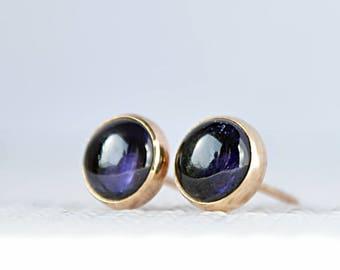 Iolite Stud Earrings, Iolite Posts, Water Sapphire Studs Earrings Blue Gemstone, 6mm, 8mm, 10mm, 14k Gold Filled Oxidized Sterling Silver