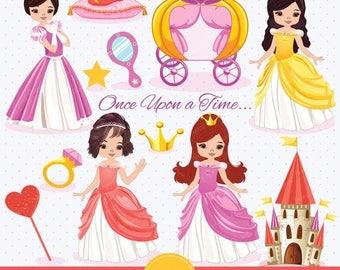 80% OFF SALE Princess digital clipart, cute princess, castle clipart, princess clipart for commercial use, Princees clipart, Princess- CA156