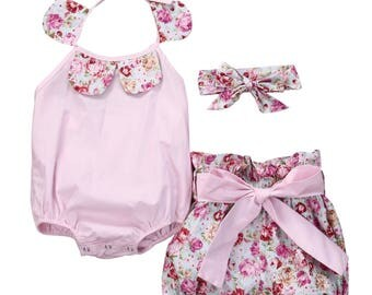 Girls 3 piece high waisted shorts set