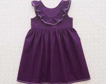 DAHLIA - Girls Frill Dress, Handmade Purple Dress