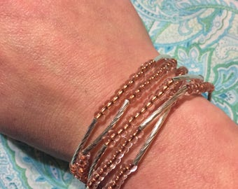 Copper and Sterling silver wrap bracelet/necklace. Can be worn several different ways!
