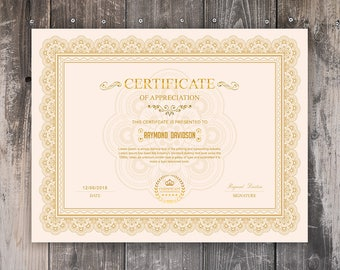 Certificate template etsy multipurpose certificate template printable certificate template microsoft word photoshop template instant download yelopaper Images
