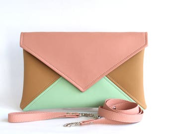 Mint Pink Clutch Bag Wristlet Clutch Bridesmaid Clutch Purse Vegan Leather Clutch Evening Clutch Purse Gift For Women Wedding Clutch Vegan