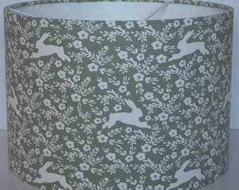 Pretty sage green bunny/rabbits/hares country fabric drum lampshade - pendant - 30cm