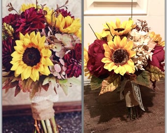 Sunflower bouquet etsy sunflower bouquet burgandy and gold wedding replica1 junglespirit Image collections