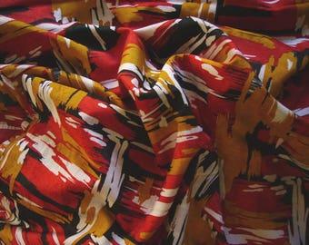 No. 233-tissue silk red black orange white patterned