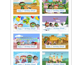 8 PERSONALIZED Super Why Stickers, Birthday Party Favors, Labels, rewards, decals, custom made